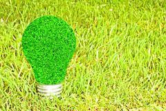 Light bulb made of green grass Royalty Free Stock Images