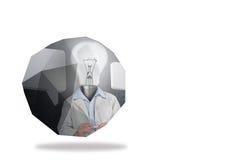Light bulb man on abstract screen Royalty Free Stock Photos
