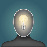 Light bulb in a man head Stock Images