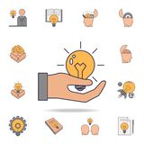 A light bulb in a man's hand fild color icon. Detailed set of color idea icons. Premium graphic design. One of the collection. Icons for websites, web design on royalty free illustration
