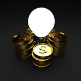 Light Bulb With Many Dollar Coins. Making Money Idea Concept Royalty Free Stock Photo
