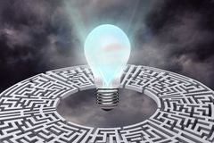 light bulb with maze graphic Royalty Free Stock Image