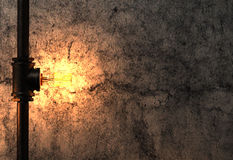 Light bulb and metal tube on old cement wall. 3d rendering light bulb and metal rustic tube on old cement wall Stock Photography