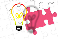 Light Bulb with missing puzzle piece as idea. And solution concept Royalty Free Stock Photography