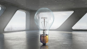 Light bulb in modern office . Mixed media Stock Photography