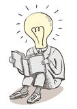 Light bulb moment man. Brain power and great ideas. Stock Image