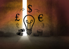 Light bulb and money in dark room Stock Photography
