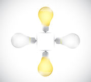 Light bulb off and on. illustration design Stock Images