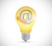 Light bulb and online at symbol illustration Royalty Free Stock Images