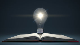 Light bulb on open book. Idea or creativity concept. Education. Stock Images