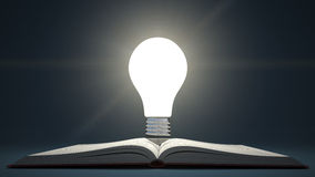 Light bulb on open book. Idea or creativity concept. Education. Royalty Free Stock Image