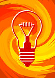 Light bulb on orange background Stock Photography