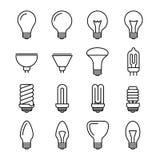 Light bulb outline vector icons. Energy and power lightbulb illustration. Fluorescent and halogen lightbulb lamp Stock Image