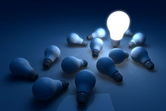 Light Bulb Outstanding Brightness in the Dark and Shadow Royalty Free Stock Images