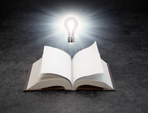 A light bulb over an open book Stock Photos