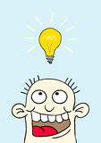 Light bulb over your head. Illustration of a man on fire over which light Royalty Free Stock Photos