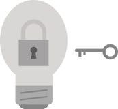 Light bulb with padlock and key Stock Photo