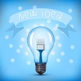 Light Bulb with Paint Brush Stock Photos