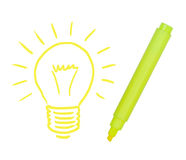 Light bulb painted yellow marker. Royalty Free Stock Photos
