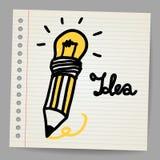 Light bulb, Pencil, and Good idea. Stock Image