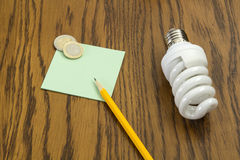 Light bulb with pencil and post-it Stock Images