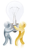 Light bulb people. Illustration of two mascots carrying a lightbulb Royalty Free Stock Photo