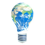 Light bulb with planet Earth in place of glass.  Royalty Free Stock Photography