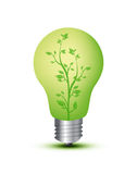 Light bulb with plant. A light bulb on white background with shadow royalty free stock photo
