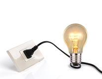 Light bulb and a plug Stock Photography