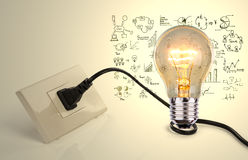 Light bulb and a plug Royalty Free Stock Images