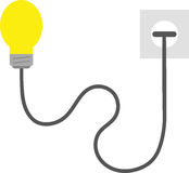 Light bulb plugged into outlet. Vector yellow light bulb with wire plugged into outlet Stock Photography