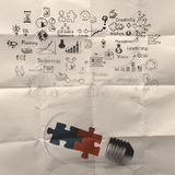 Light bulb and puzzle piece as ideas Royalty Free Stock Photography