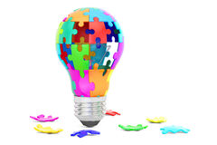Light bulb from puzzle pieces, idea and solution concept. 3D ren Royalty Free Stock Images
