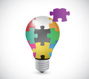 Light bulb puzzle pieces illustration design Royalty Free Stock Images
