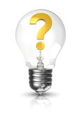 Light bulb with question mark Stock Images