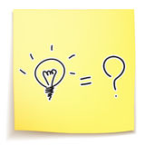 Light bulb and question mark idea. On sticky note Royalty Free Stock Images