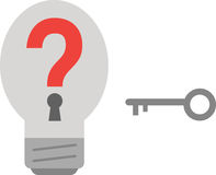Light bulb with question mark and key. Stock Image