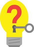 Light bulb with question mark and key. Stock Photography