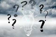 light bulb and question marks graphics Stock Image