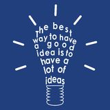 Light bulb with a quote. Vector vector illustration