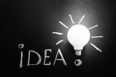 Light bulb with rays on the black chalkboard with title idea! written by white  chalk, Royalty Free Stock Images
