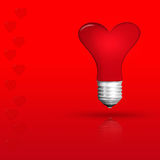 Light bulb  red love heart  , Realistic photo image on Royalty Free Stock Photos