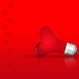 Light bulb  red love heart  , Realistic photo image on Royalty Free Stock Photography