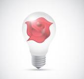 Light bulb and red rose illustration design Stock Images