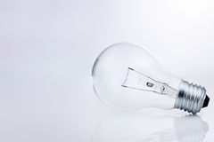 Light bulb with reflection on white. Royalty Free Stock Photography