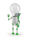 Light bulb robot - greeting Stock Photos