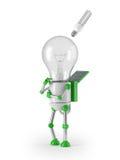 Light bulb robot - idea. Solar powered light bulb robot with fluorescent lamp Stock Image