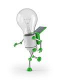Light bulb robot - run. Solar powered light bulb robot running Stock Images