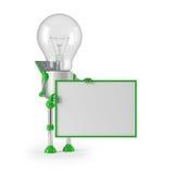 Light bulb robot - sign. Solar powered light bulb robot with blank sign Stock Photos