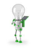 Light bulb robot - thinking Royalty Free Stock Photos
